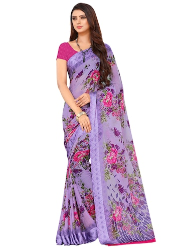 Floral printed saree with blouse - 15498840 - Standard Image - 1