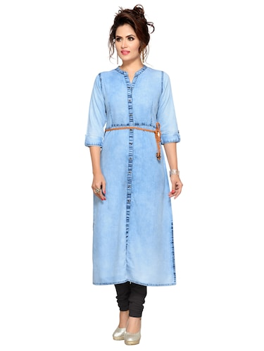 Denim straight kurta with belt - 15500072 - Standard Image - 1