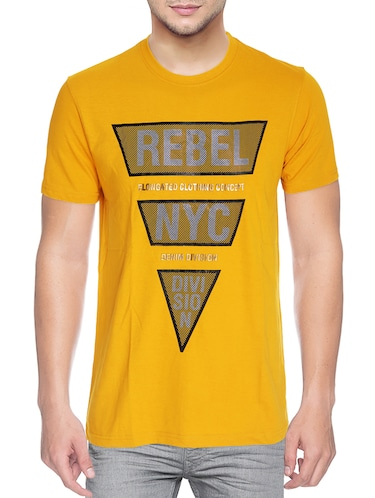 yellow cotton blend chest print tshirt - 15500127 - Standard Image - 1