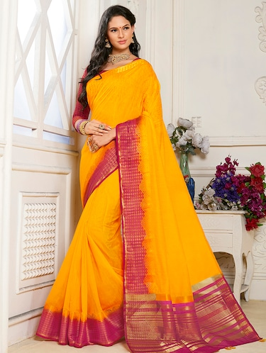 Linen zari bordered saree with blouse - 15501525 - Standard Image - 1