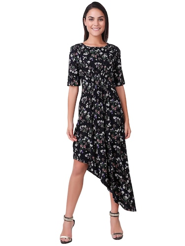 smocked printed asymmetric dress - 15502249 - Standard Image - 1