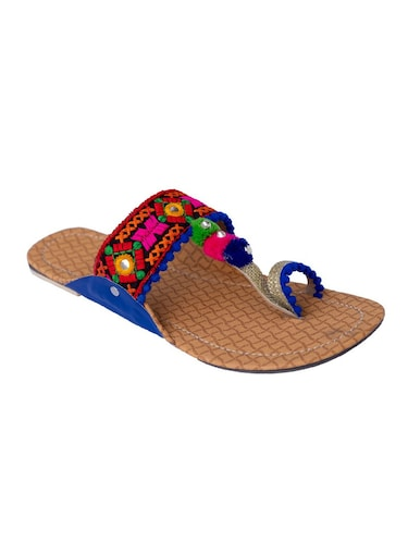multi colored one toe kolhapuris - 15502349 - Standard Image - 1