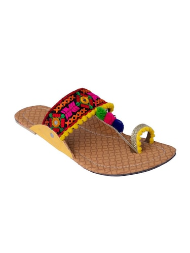 multi colored one toe kolhapuris - 15502351 - Standard Image - 1