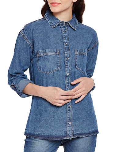 pocket patch denim shirt - 15502697 - Standard Image - 1