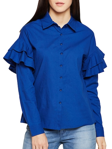 ruffle detail sleeved shirt - 15502699 - Standard Image - 1