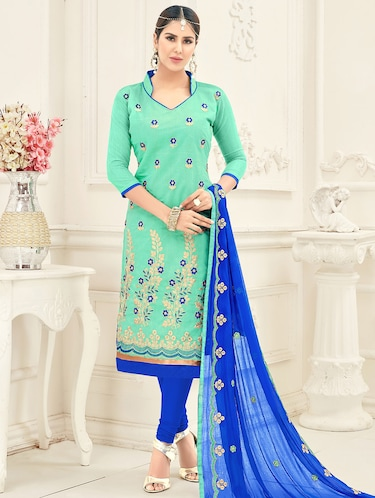 Embroidered unstitched churidaar suit - 15503022 - Standard Image - 1