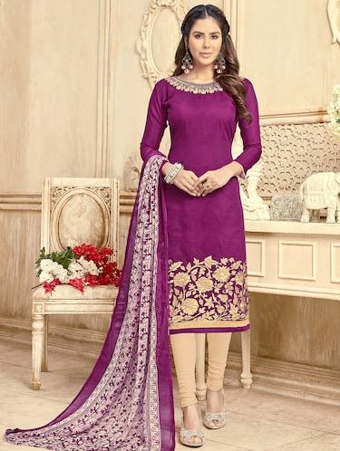 Embroidered unstitched churidaar suit - 15503031 - Standard Image - 1
