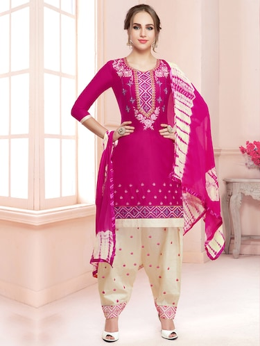 Embroidered unstitched salwar suit - 15503039 - Standard Image - 1