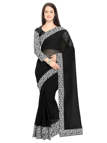 printed lace border black saree with blouse - 15503722 - Standard Image - 1