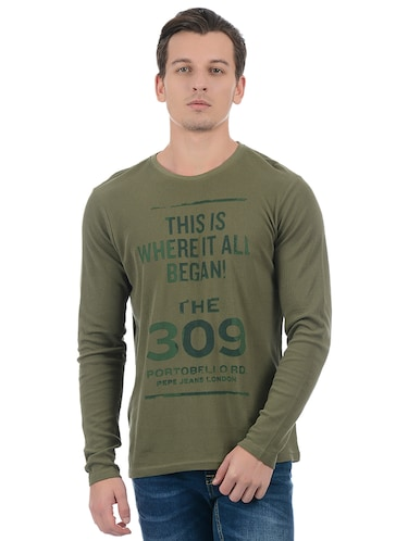 green cotton blend front print t-shirt - 15504487 - Standard Image - 1