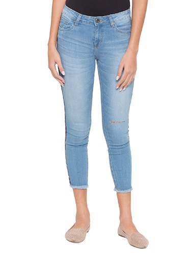 side taped ankle length jeans - 15504893 - Standard Image - 1
