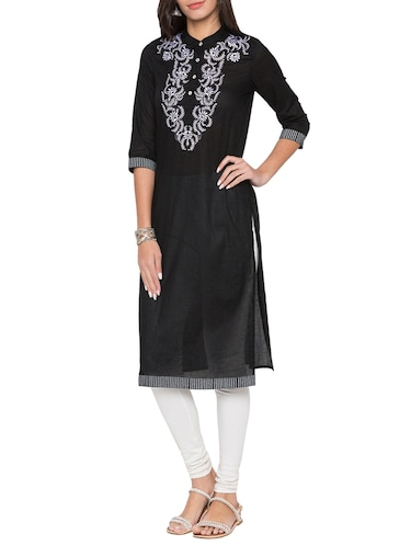 Straight embroidered kurta - 15504938 - Standard Image - 1