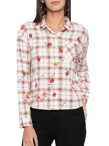 pocket patch printed checkered shirt - 15504951 - Standard Image - 1