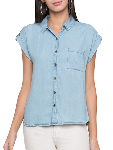 cap sleeved pocket patch shirt - 15504952 - Standard Image - 1