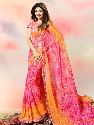 lace border abstract printed saree with blouse - 15505193 - Standard Image - 1
