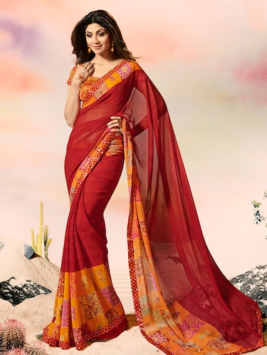 lace border printed border saree with blouse - 15505194 - Standard Image - 1