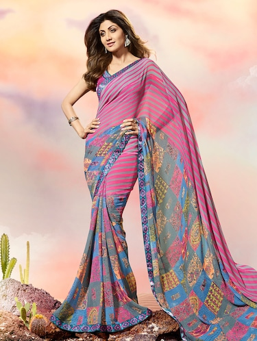 lace border striped printed saree with blouse - 15505196 - Standard Image - 1