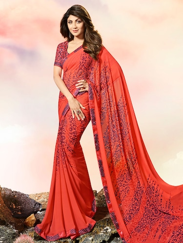 lace border abstract printed saree with blouse - 15505204 - Standard Image - 1