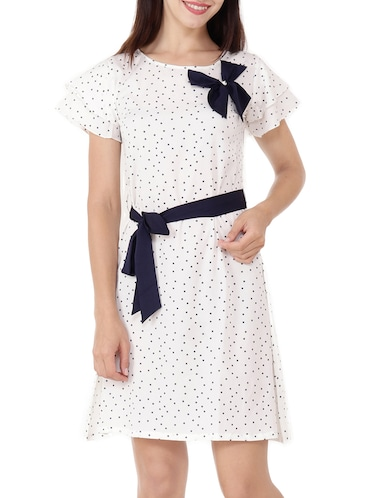 Contrast bow detail belted dress - 15505911 - Standard Image - 1