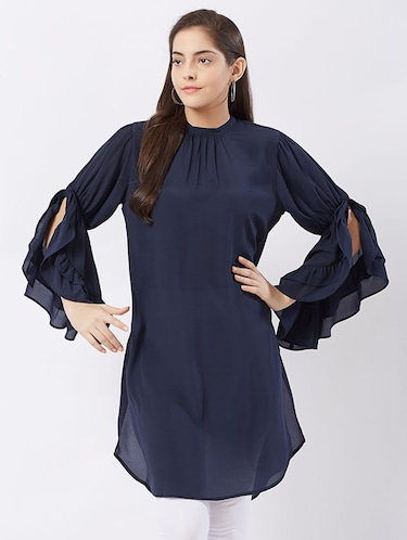 Twilight navy flary sleeves kurti - 15512017 - Standard Image - 1
