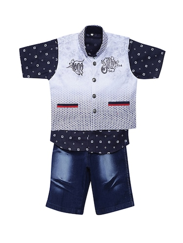 blue cotton shorts set with waistcoat - 15512055 - Standard Image - 1