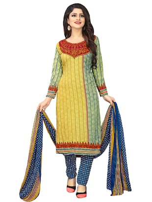 yellow crepe churidaar suits unstitched suit - 15515921 - Standard Image - 1