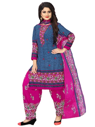 blue crepe patiyala suits unstitched suit - 15515929 - Standard Image - 1