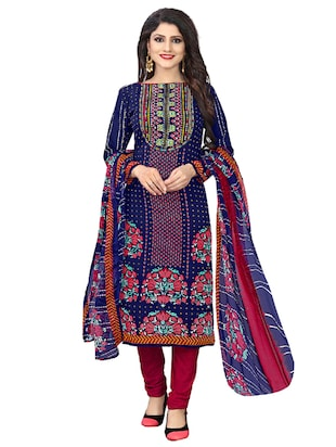blue crepe churidaar suits unstitched suit - 15515933 - Standard Image - 1