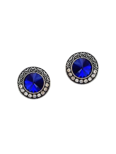 Blue Silver Tone Oxidized Earrings - 15516886 - Standard Image - 1