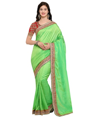 embroidered lace border saree with blouse - 15517215 - Standard Image - 1