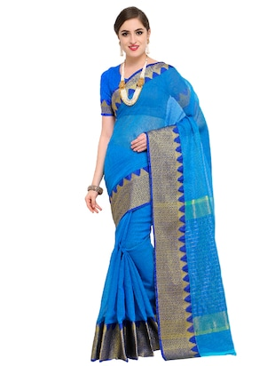 geometrical zari border woven saree with blouse - 15517218 - Standard Image - 1