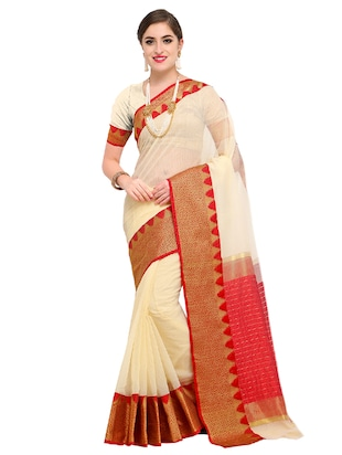 geometrical zari border woven saree with blouse - 15517219 - Standard Image - 1