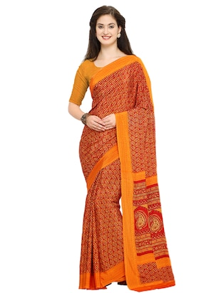 all over printed red saree with blouse - 15517229 - Standard Image - 1