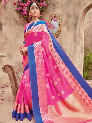 contrast zari border banarasi saree with blouse - 15517249 - Standard Image - 1