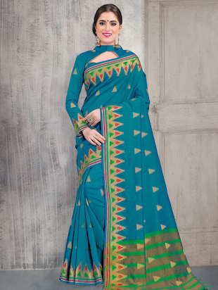 geometrical zari motif banarasi saree with blouse - 15517267 - Standard Image - 1
