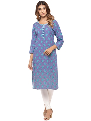 Placket patch printed straight kurta - 15517426 - Standard Image - 1