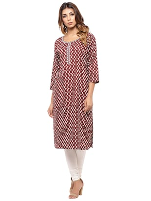 Placket patch printed straight kurta - 15517432 - Standard Image - 1