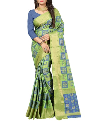 contrast shades zari patola saree with blouse - 15518017 - Standard Image - 1
