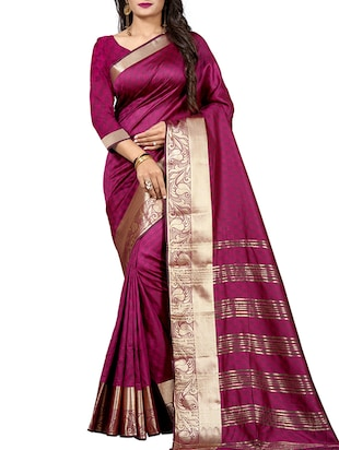 paisley zari border woven saree with blouse - 15518020 - Standard Image - 1