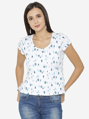 back waist gather printed top - 15518038 - Standard Image - 1