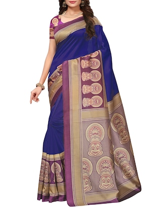 Contrast border mysore silk saree with blouse - 15518134 - Standard Image - 1