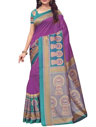 Contrast border mysore silk saree with blouse - 15518137 - Standard Image - 1