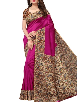 Contrast border mysore silk saree with blouse - 15518151 - Standard Image - 1