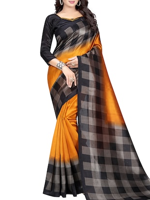 Chequered border mysore silk saree with blouse - 15518156 - Standard Image - 1