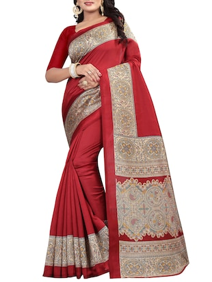Contrast border mysore silk saree with blouse - 15518173 - Standard Image - 1