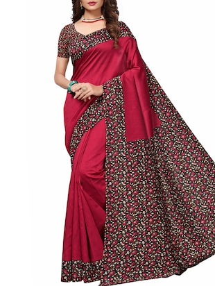 Contrast border mysore silk saree with blouse - 15518182 - Standard Image - 1