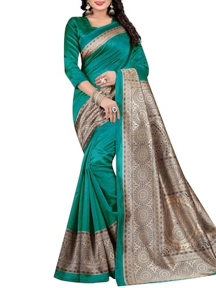 Contrast border mysore silk saree with blouse - 15518194 - Standard Image - 1