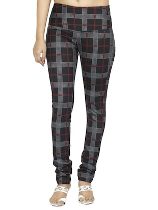 mid waist checkered jegging - 15518251 - Standard Image - 1