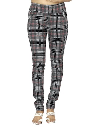 mid waist checkered jegging - 15518260 - Standard Image - 1