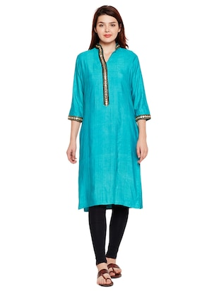 Mirror work pintucks kurta - 15518282 - Standard Image - 1